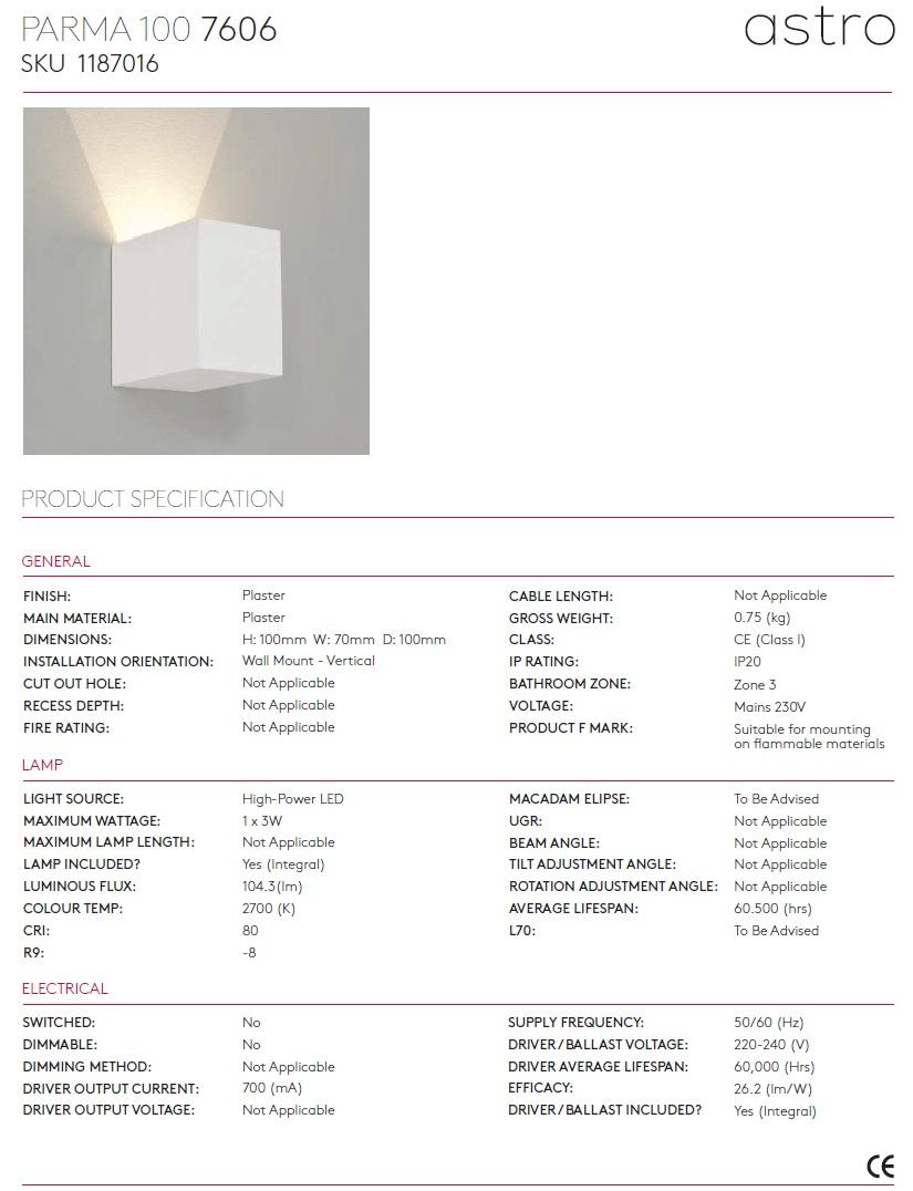 PARMA 100 LED 2700K applique