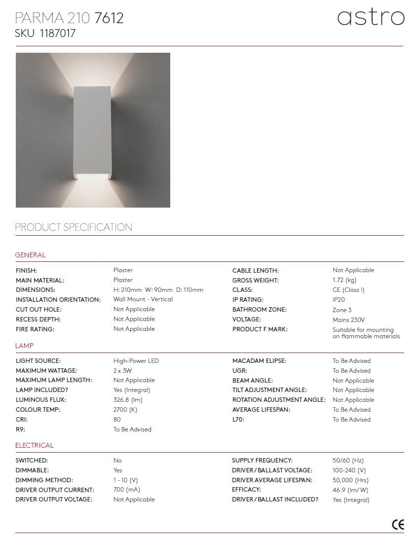 PARMA 210 LED applique 2700K