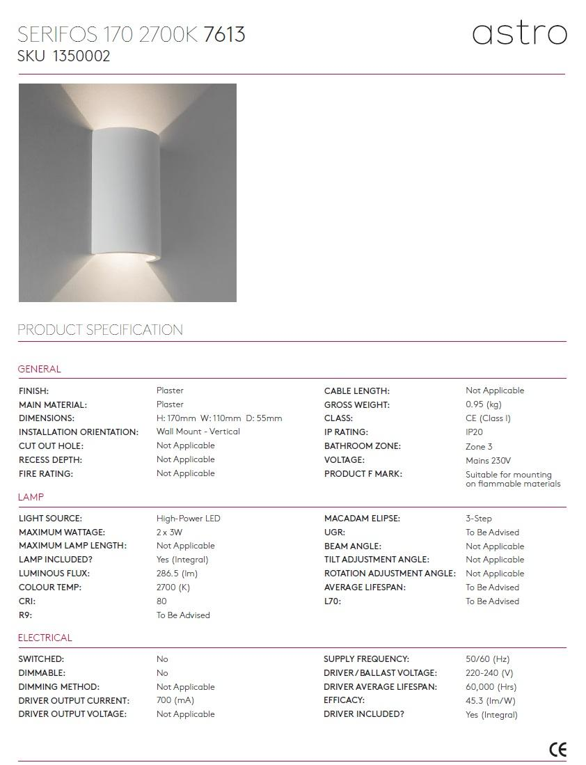 SERIFOS 170 applique LED 2700K