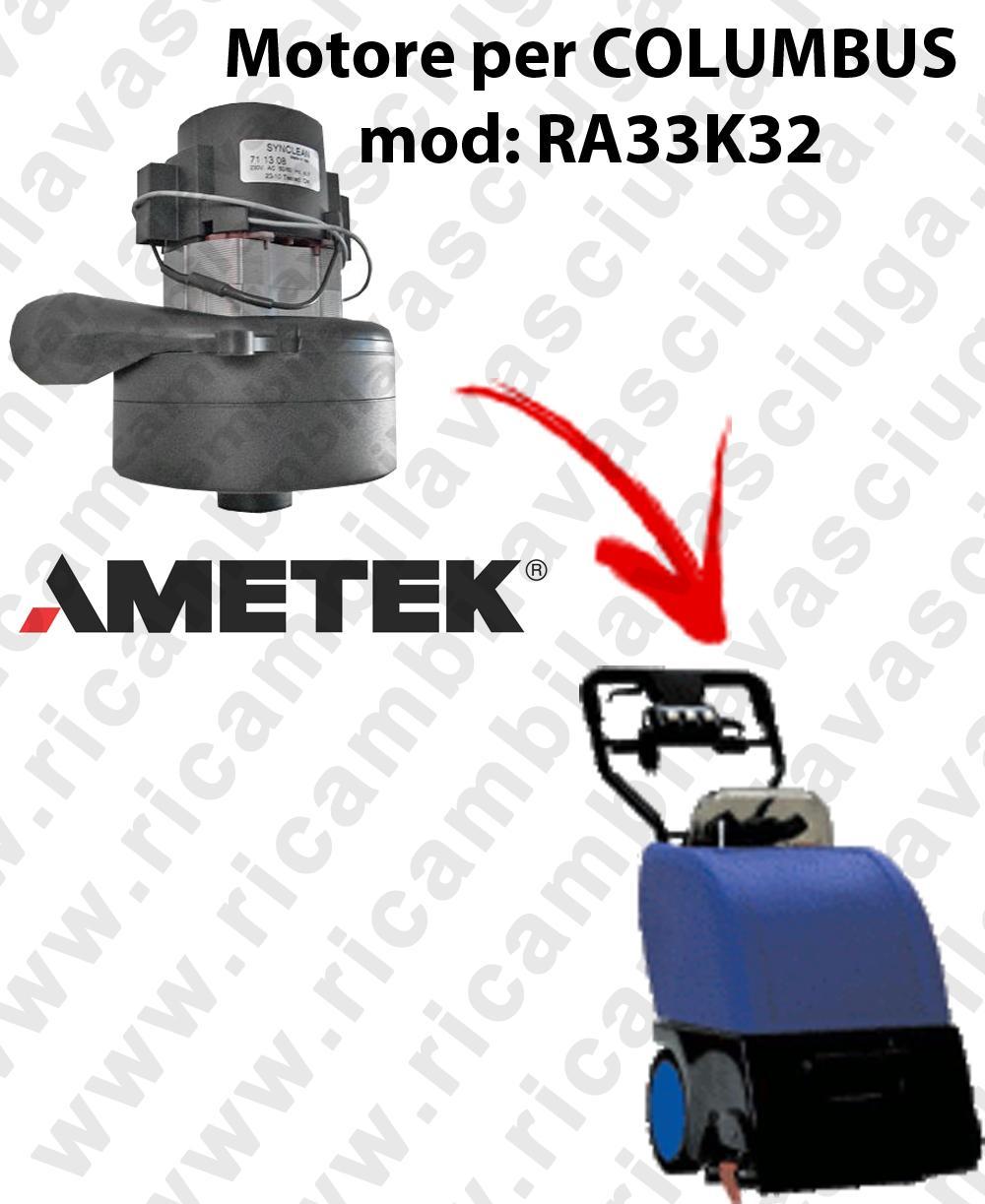 Motore AMETEK di aspirazione per lavapavimenti COLUMBUS RA33K32