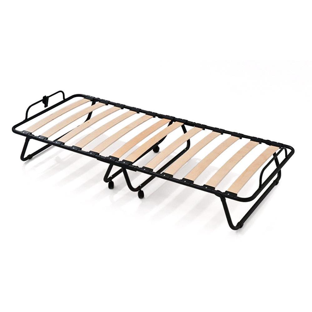 g stebett aus stahlrahmen mit 12 leisten aus buche schichtholz h30 cm 80x190 cm ebay. Black Bedroom Furniture Sets. Home Design Ideas