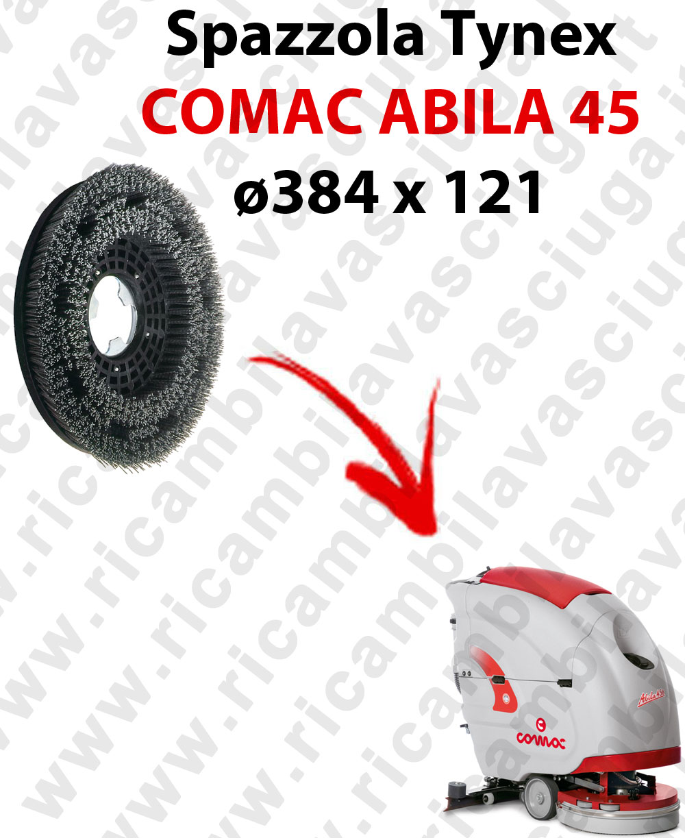 SPAZZOLA TYNEX  per lavapavimenti COMAC ABILA 45. Modello: tynex  ø384 X 121
