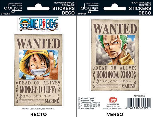 One Piece wanted Luffy Zoro mini stickers 16 x 11 cm