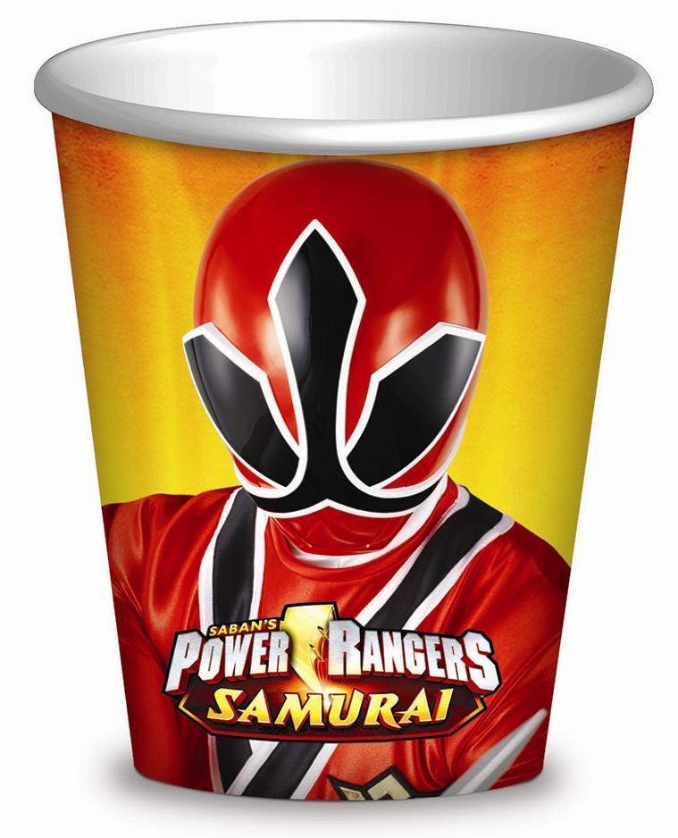 Power Ranger Samurai party 8 bicchieri 23 cm
