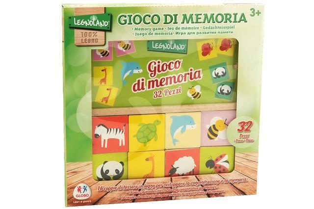 GIOCO MEMORIA DEGLI ANIMALI IN LEGNO 16 COPPIE 37706 GLOBO