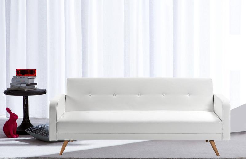 Divano letto ecopelle bianco 3 posti reclinabile piedini - Divano bianco ecopelle ...