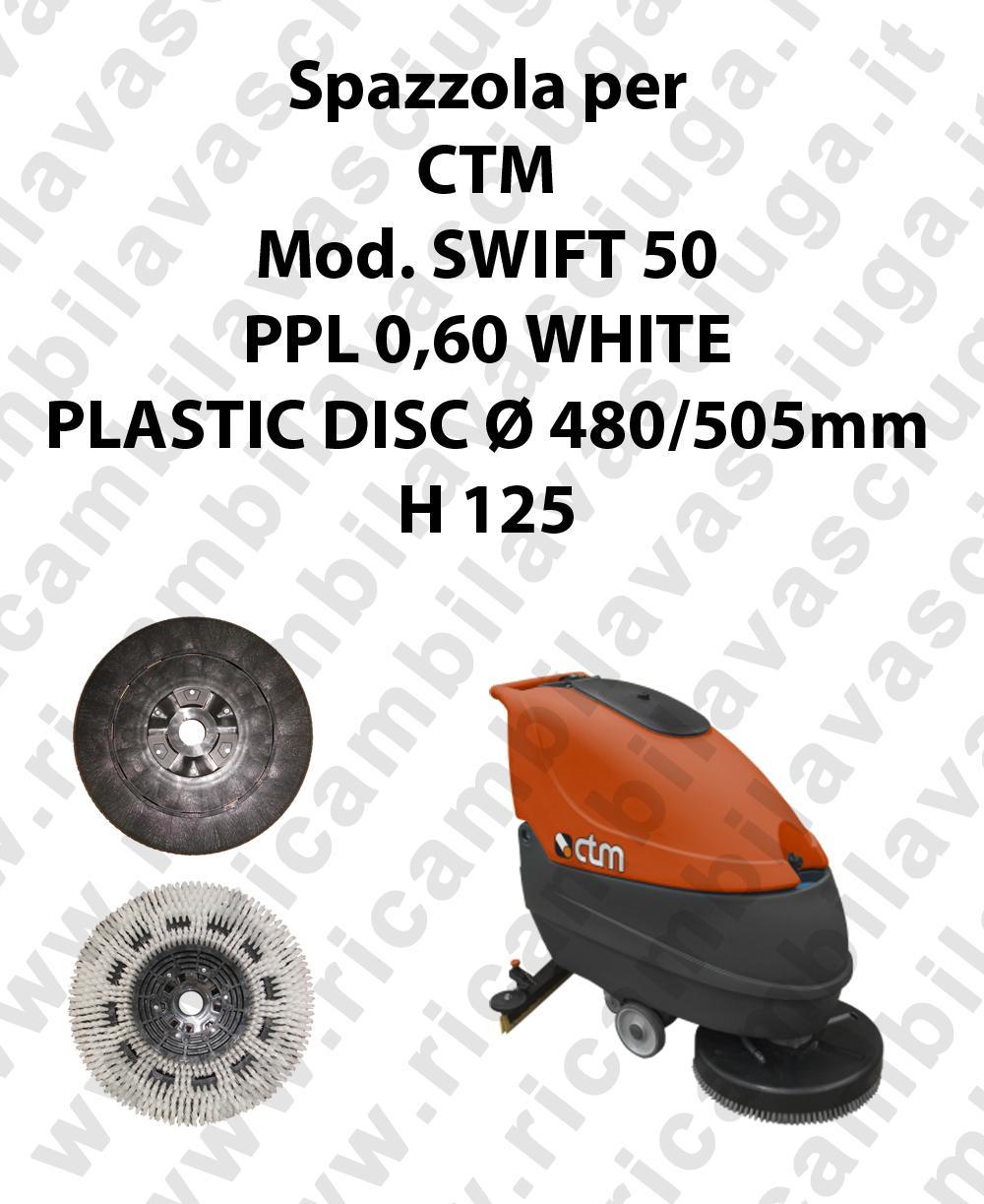 Spazzola lavare PPL 0,60 WHITE per lavapavimenti CTM modello SWIFT 50