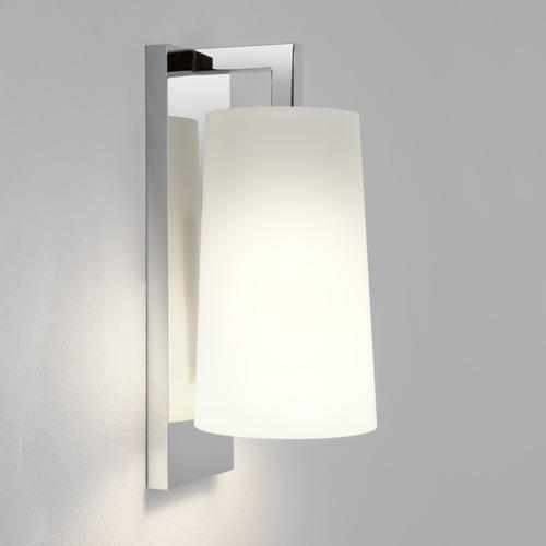 LAGO applique cromo con vetro bianco