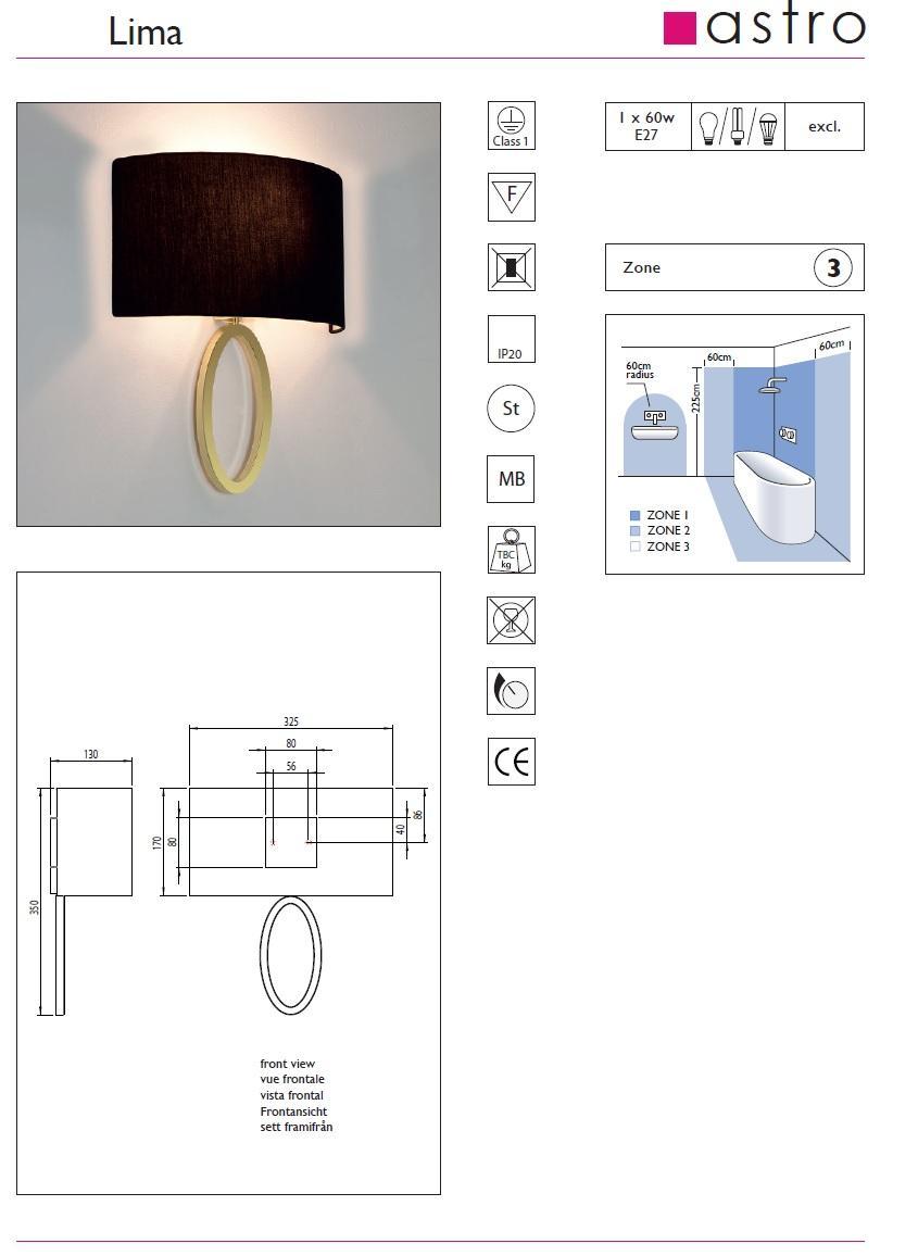 LIMA applique bronzo con paralume ostrica
