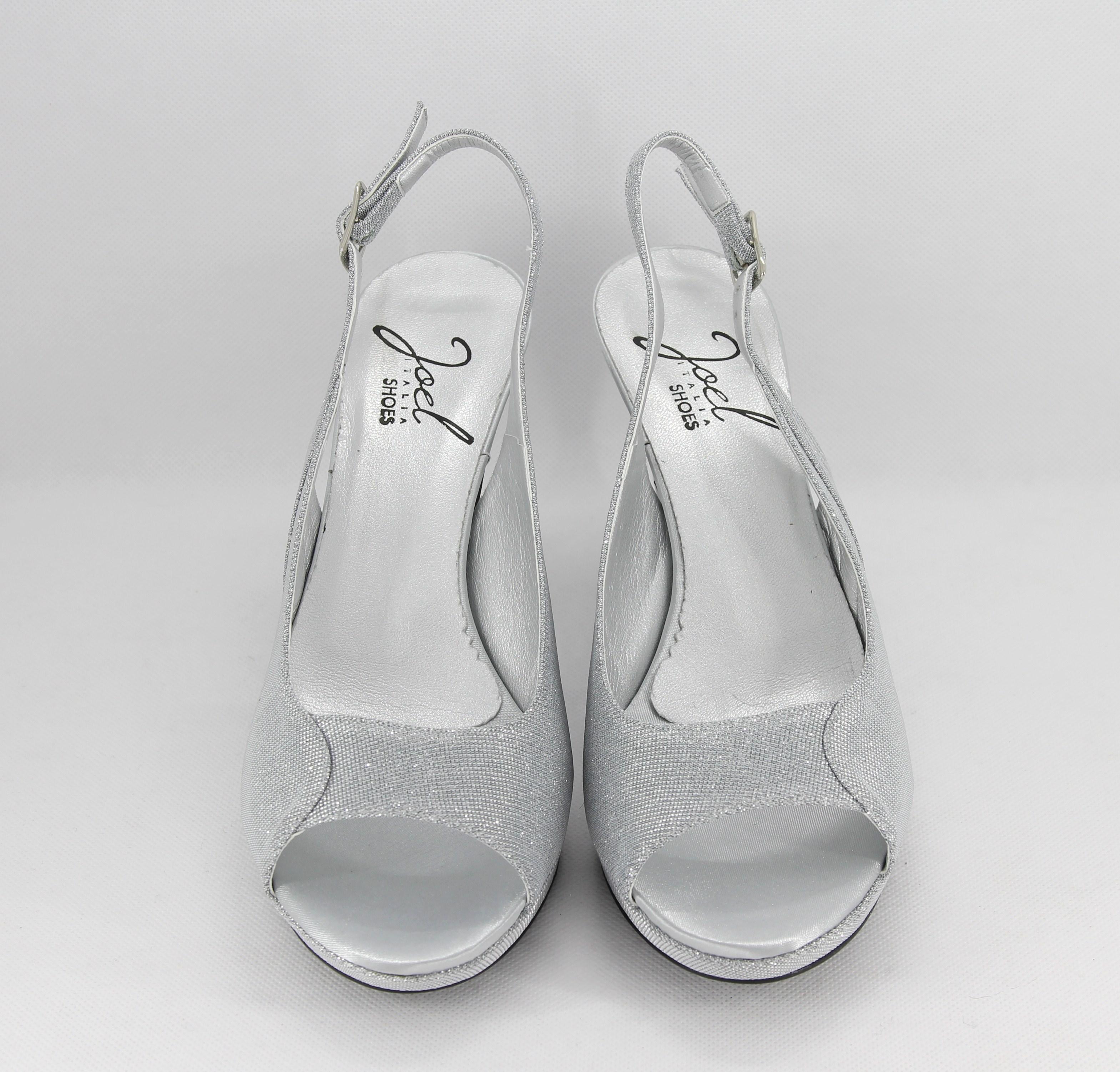 Sandalo donna elegante da cerimonia in tessuto glitter  argento con cinghietta regolabile  Art. A676
