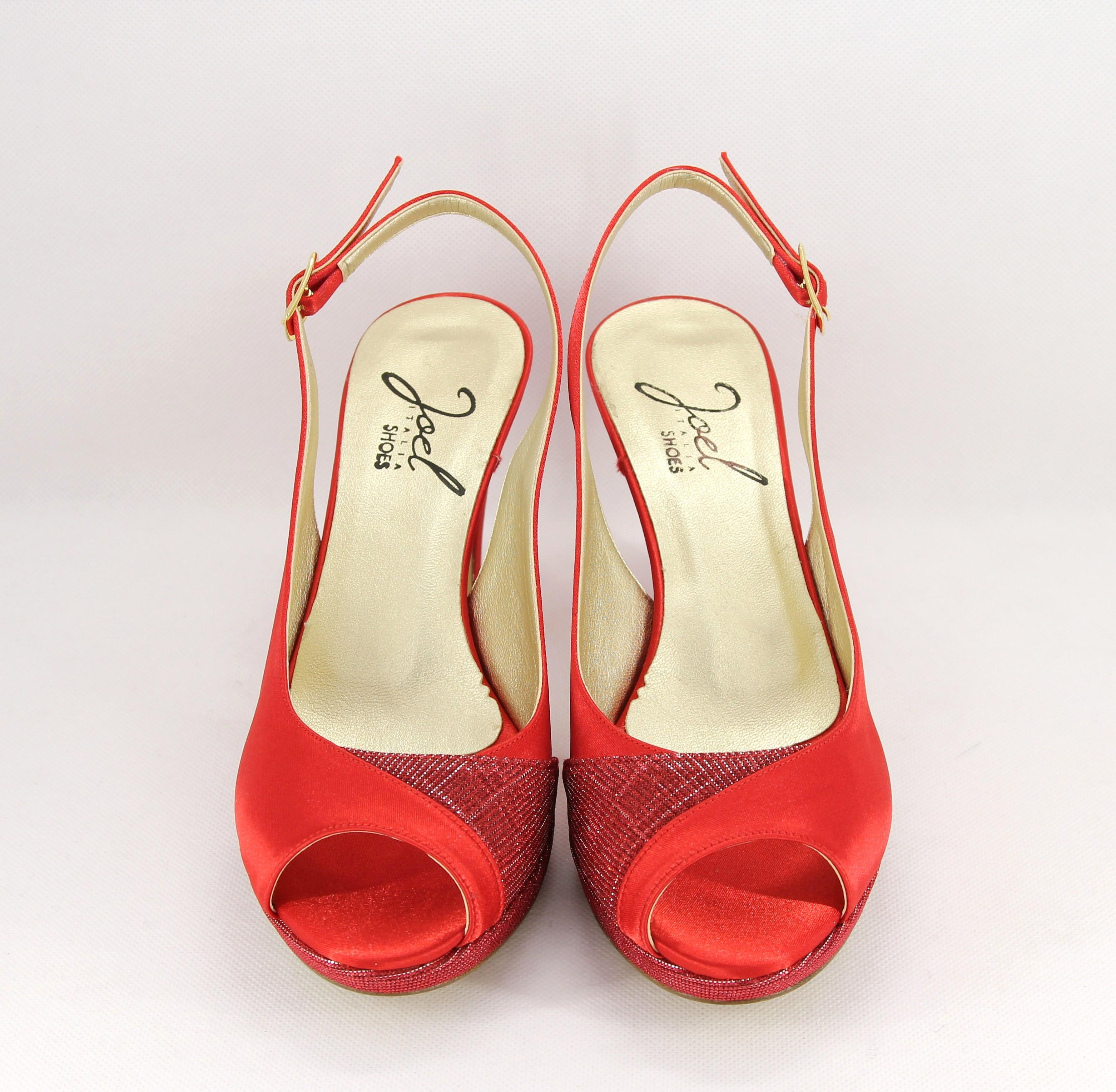 Sandalo cerimonia donna elegante in tessuto raso/glitter con cinghietta regolabile Art. MAIRA
