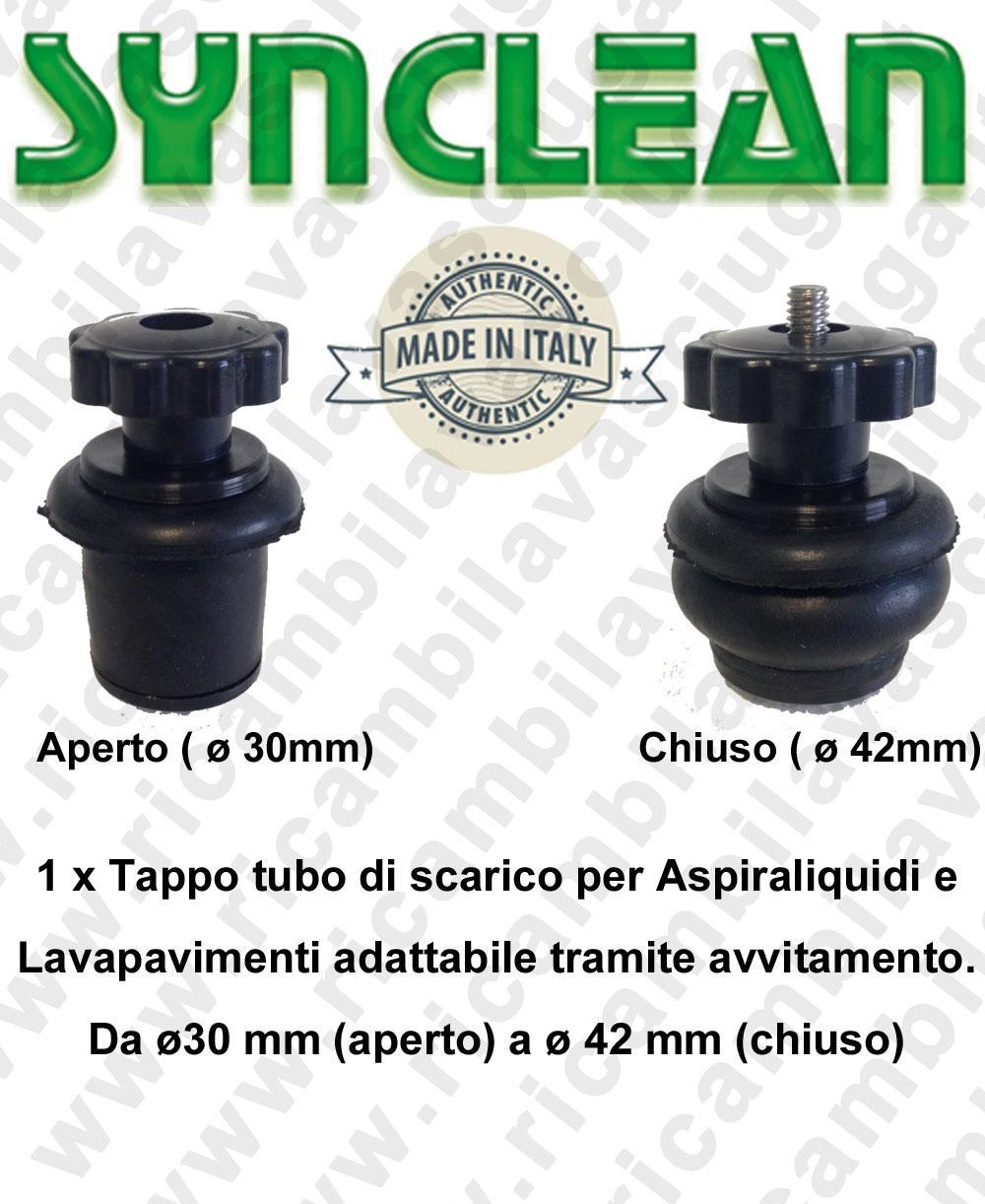 Tappo tubo di scarico per Aspiraliquidi e Lavapavimenti adattabile tramite avvitamento. Da ø30 mm (aperto) a ø 42 mm (chiuso)
