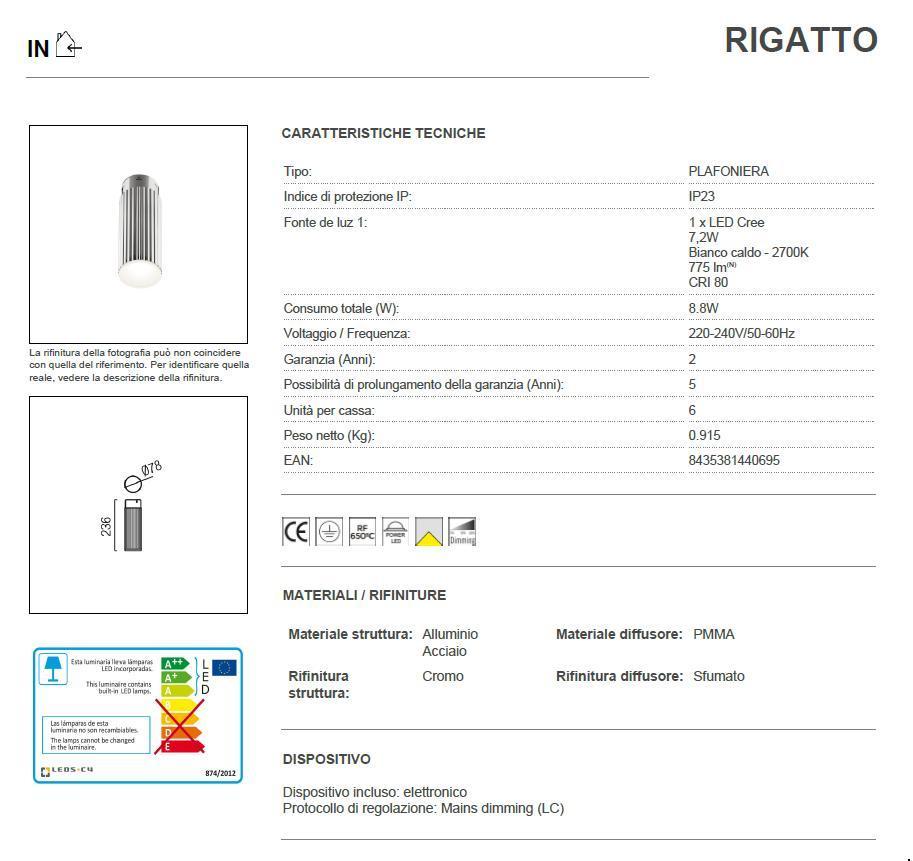 RIGATTO 24 LED plafoniera cromo