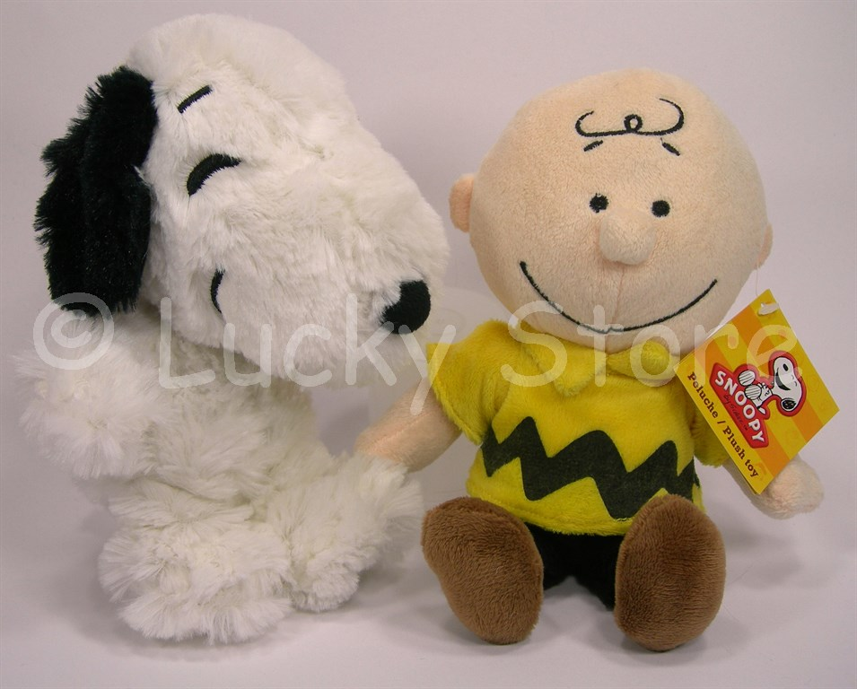 Peanuts Snoopy Charlie Brown Cane peluche 20 cm velluto Originale
