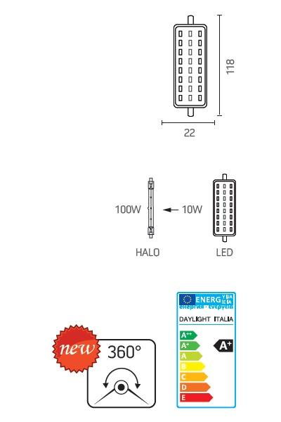 Lampadina R7s LED 10 Watt 360\u00b0