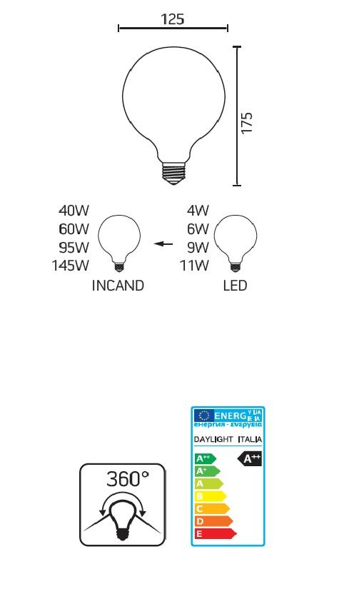Lampadina E27 Filament Globo LED 7.5watt