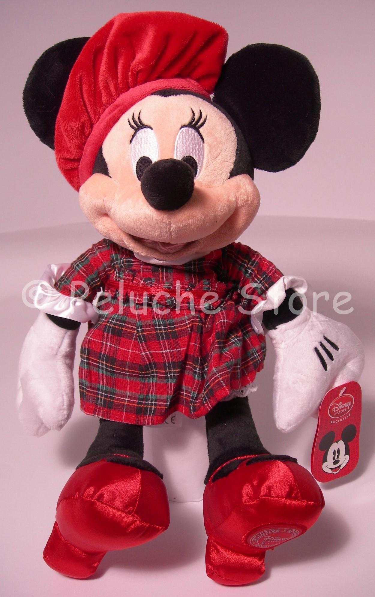 Disney Store Minnie Scozzese peluche Raro 40 cm Collezione