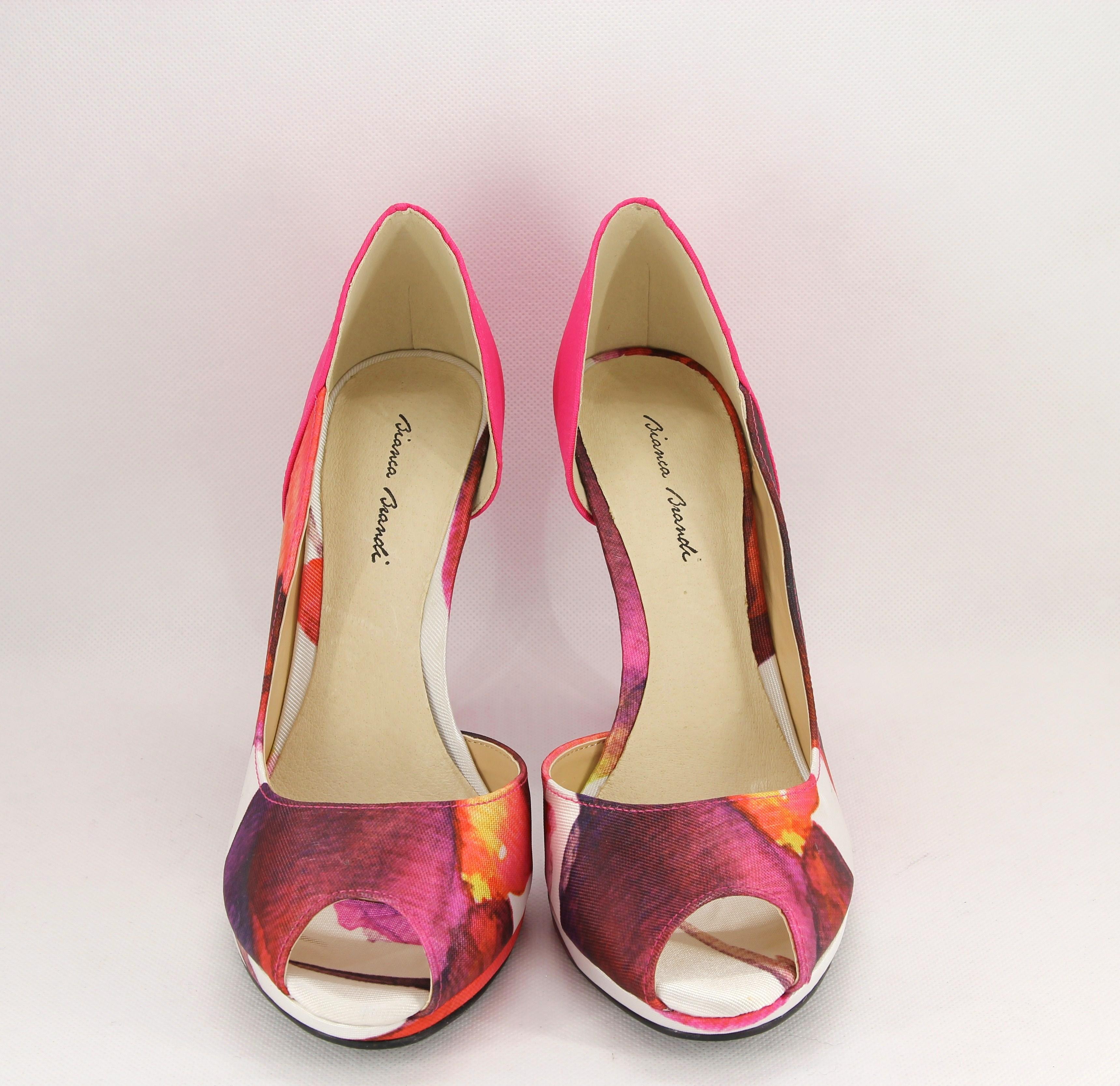 Sandalo spuntato cerimonia donna elegante in tessuto fantasia con borsetta abbinata Art. BS406