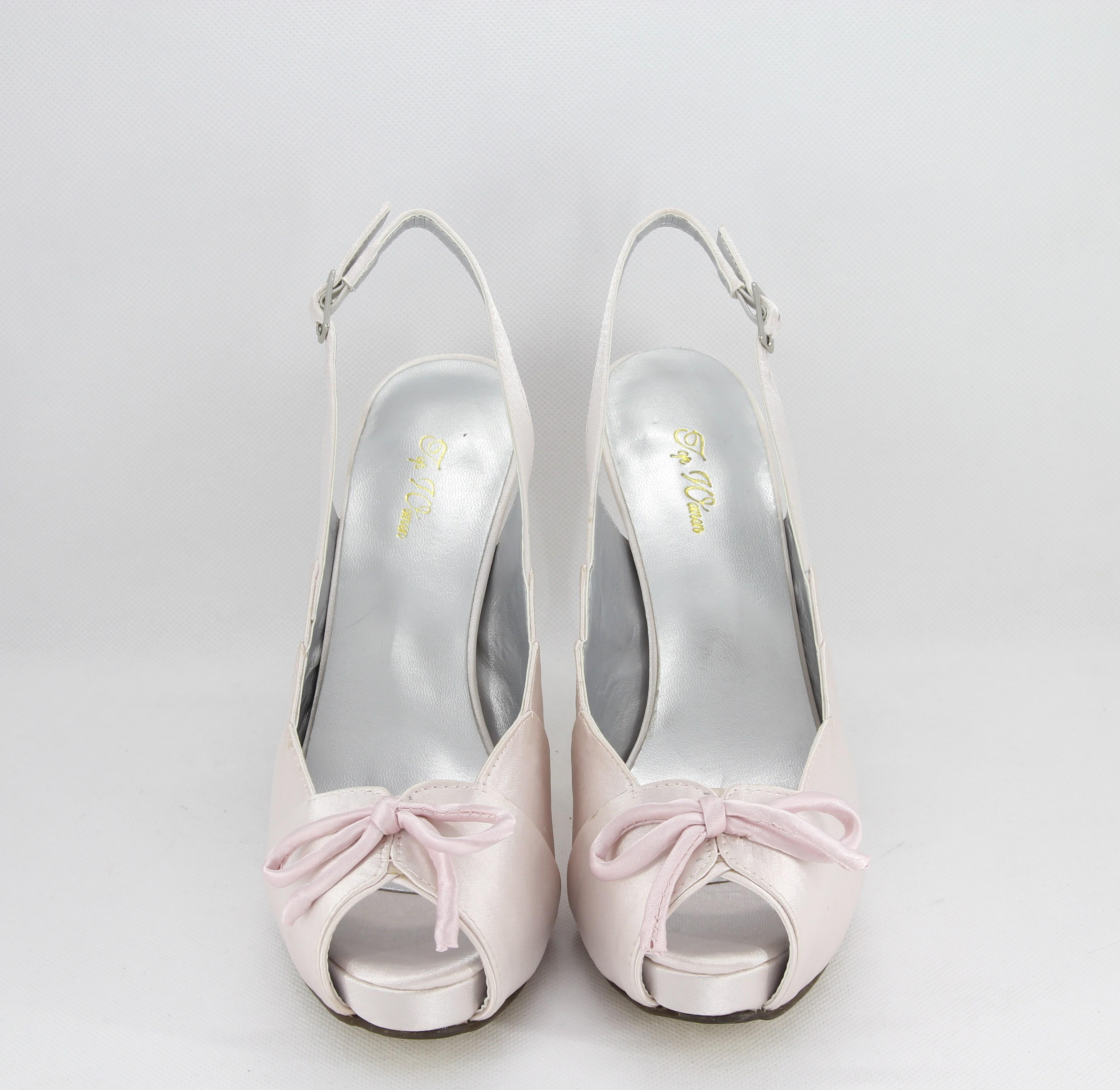 Sandalo donna elegante da cerimonia in tessuto di raso rosa con fiocco e cinghietta regolabile  Art. Z230021