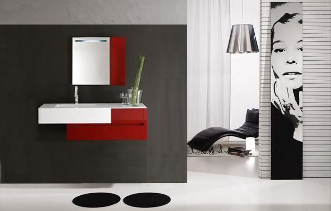 Mobile bagno con lavabo - Arredo bagno rosso ...
