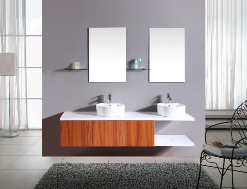 Mobile bagno doppio marrone completo di 2 lavabi specchi - Mobile bagno 2 lavabi ...