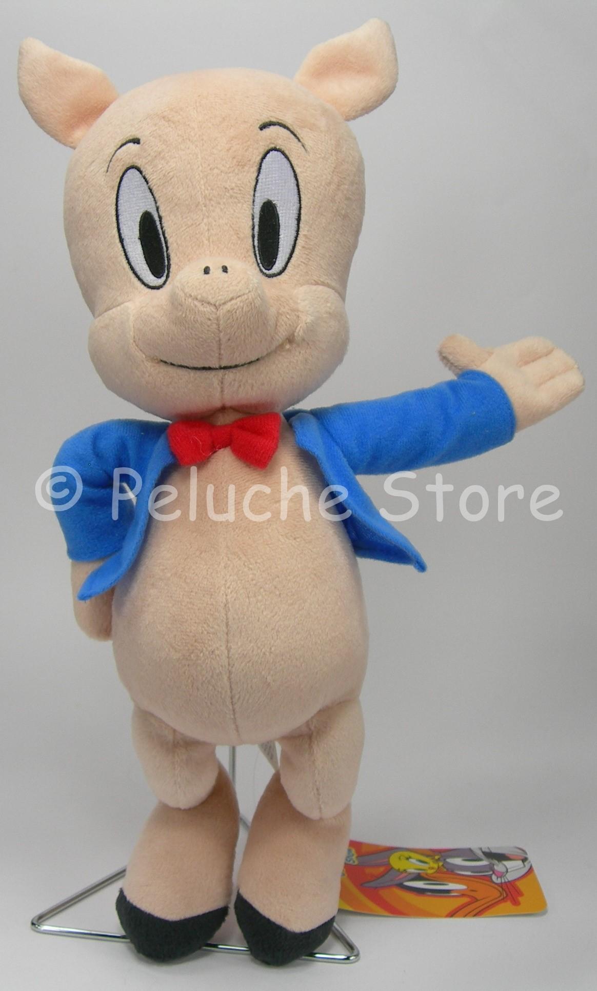 Looney Tunes Porky Pig peluche 35 cm Qualità velluto Maialino Originale