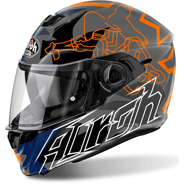 CASCO MOTO AIROH STORM BIONIKLE ORANGE GLOSS STBI32