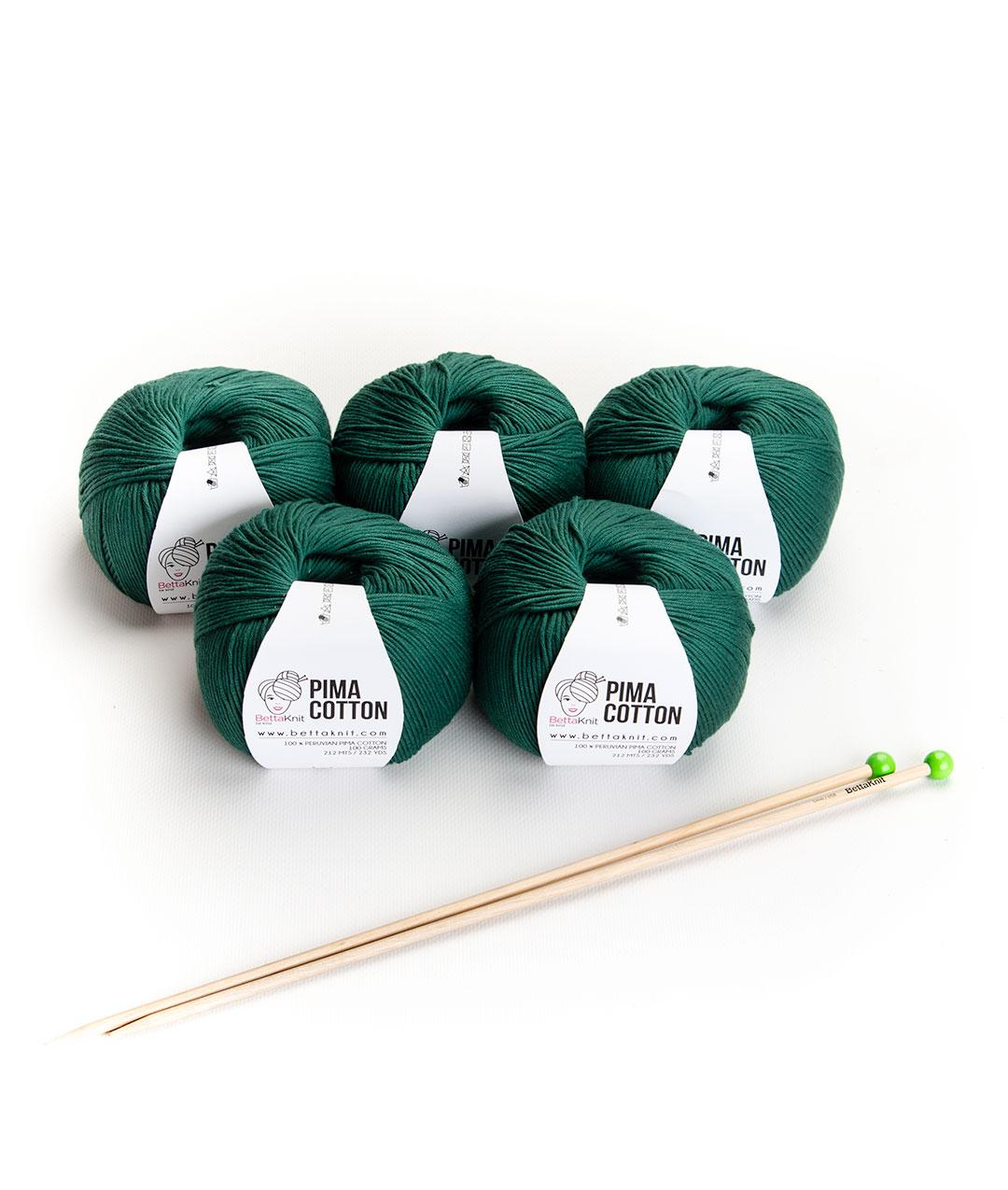 Yarn boxes with Needles  - Pack of Yarn - Pima Cotton Box - 5 balls + needles - 1