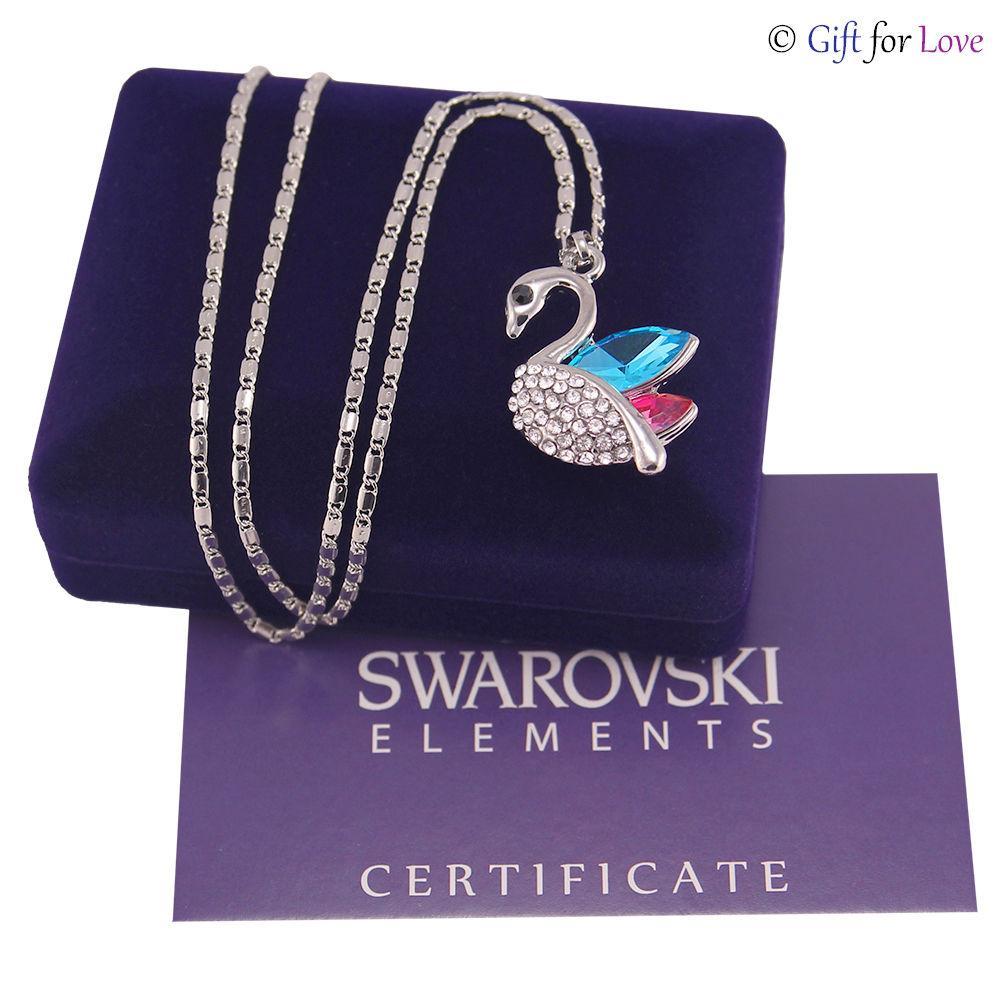 1f4c4849a9 Collana donna oro bianco Swarovski Elements G4Love cristalli cigno