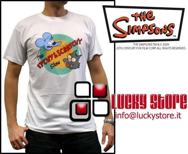 Simpsons Itchy & Scratchy Grattachecca & Fichetto T-Shirt adulto manica corta nuova cotone
