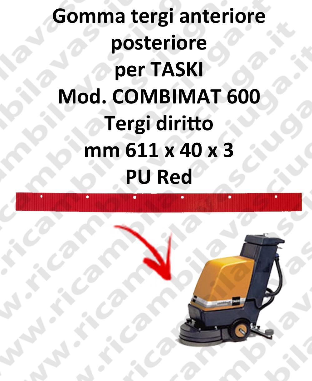 Gomma tergi anteriore e posteriore per lavapavimenti TASKI modello COMBIMAT 600 tergi diritto