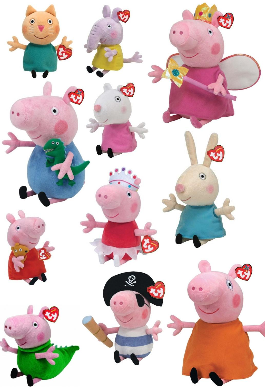 Peppa Pig e amici beanies Ty peluche 20 cm velluto Suzy George Candy
