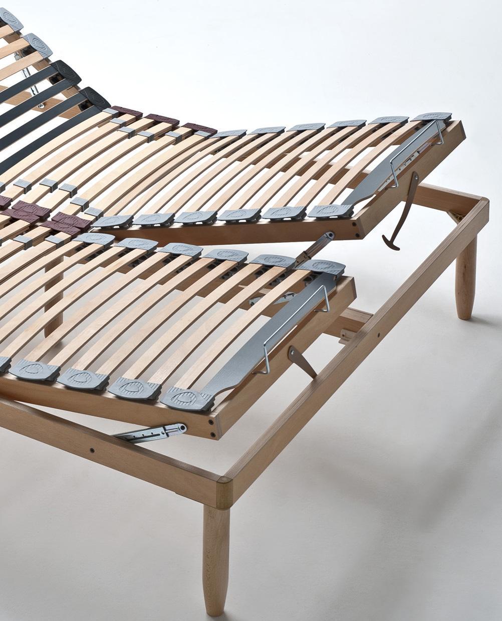 Rete in legno matrimoniale con alzate manuali indipendenti lemon - Rete letto legno ...
