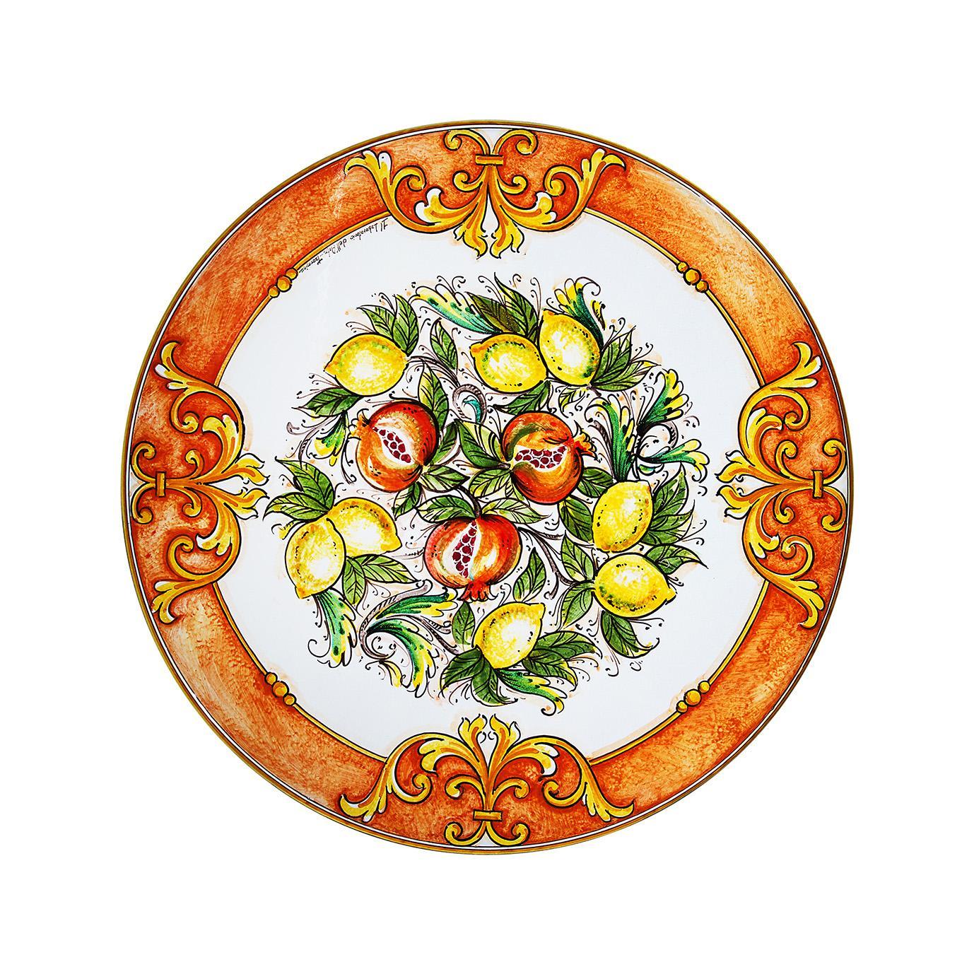 Tavolo in pietra lavica ceramizzata frutta in barocco dipinto a mano italian luxury lava stone - Pietra lavica da tavolo ...