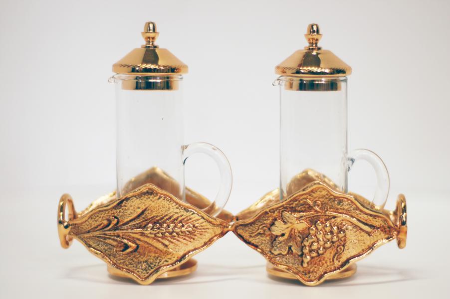 Servizio ampolle a cilindro in vetro e ottone dorato GALF444