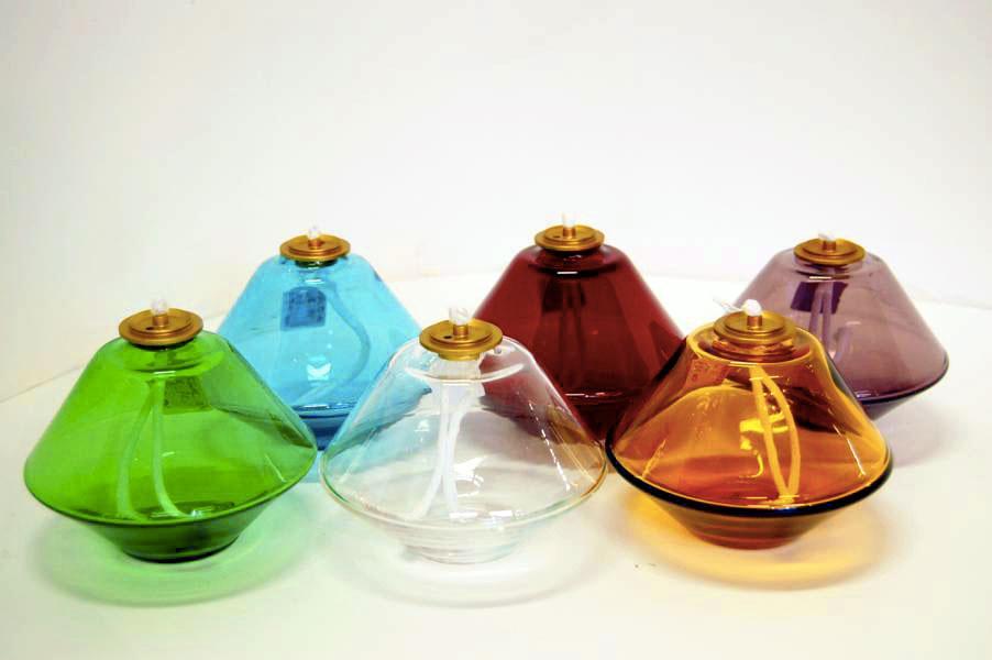 Lucerna per cera liquida in cristallo colorato