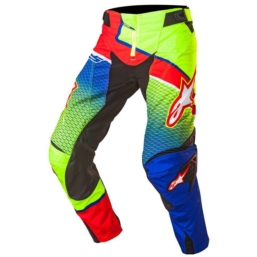 PANTALONI MOTO CROSS ALPINESTARS TECHSTAR VENOM 2017 BLUE YELLOW FLUO RED cod. 3720017