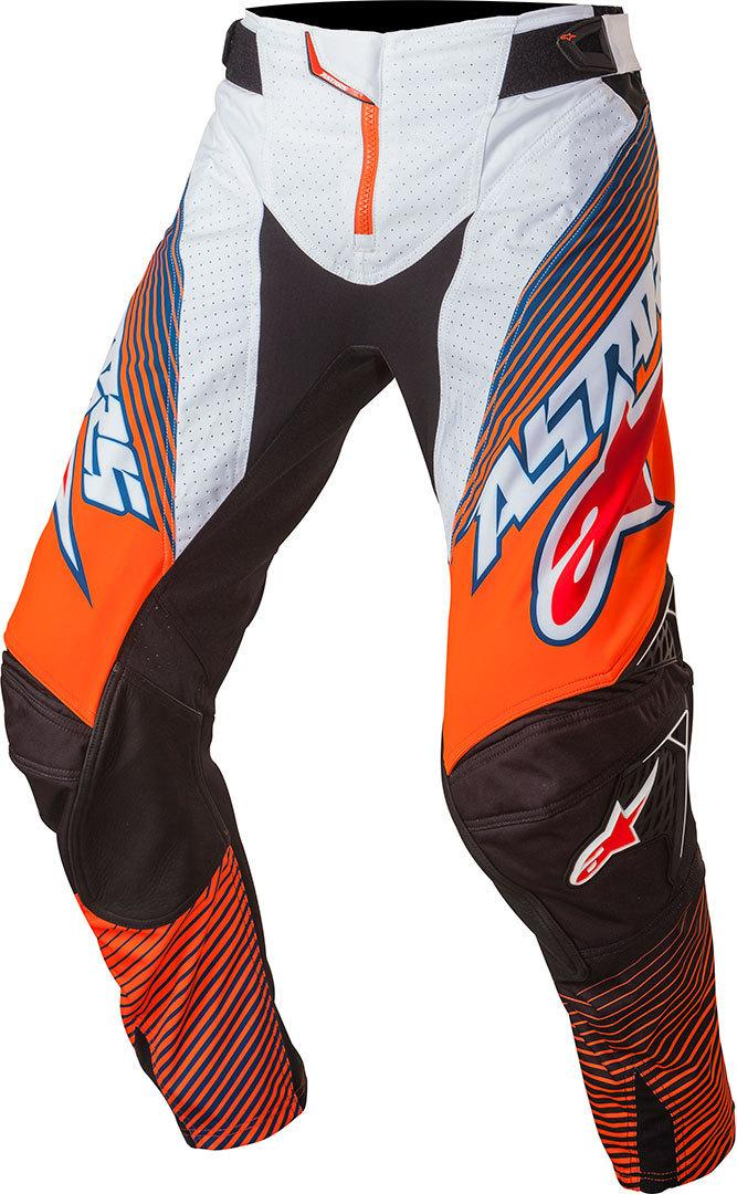 PANTALONI MOTO CROSS ALPINESTARS TECHSTAR FACTORY 2017 ORANGE FLUO DARK BLUE WHITE