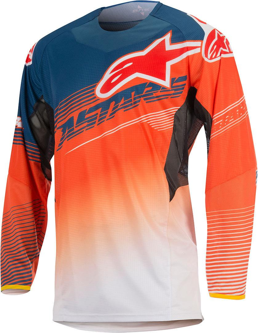 MAGLIA MOTO CROSS ALPINESTARS TECHSTAR FACTORY 2017 ORANGE FLUO DARK BLUE WHITE