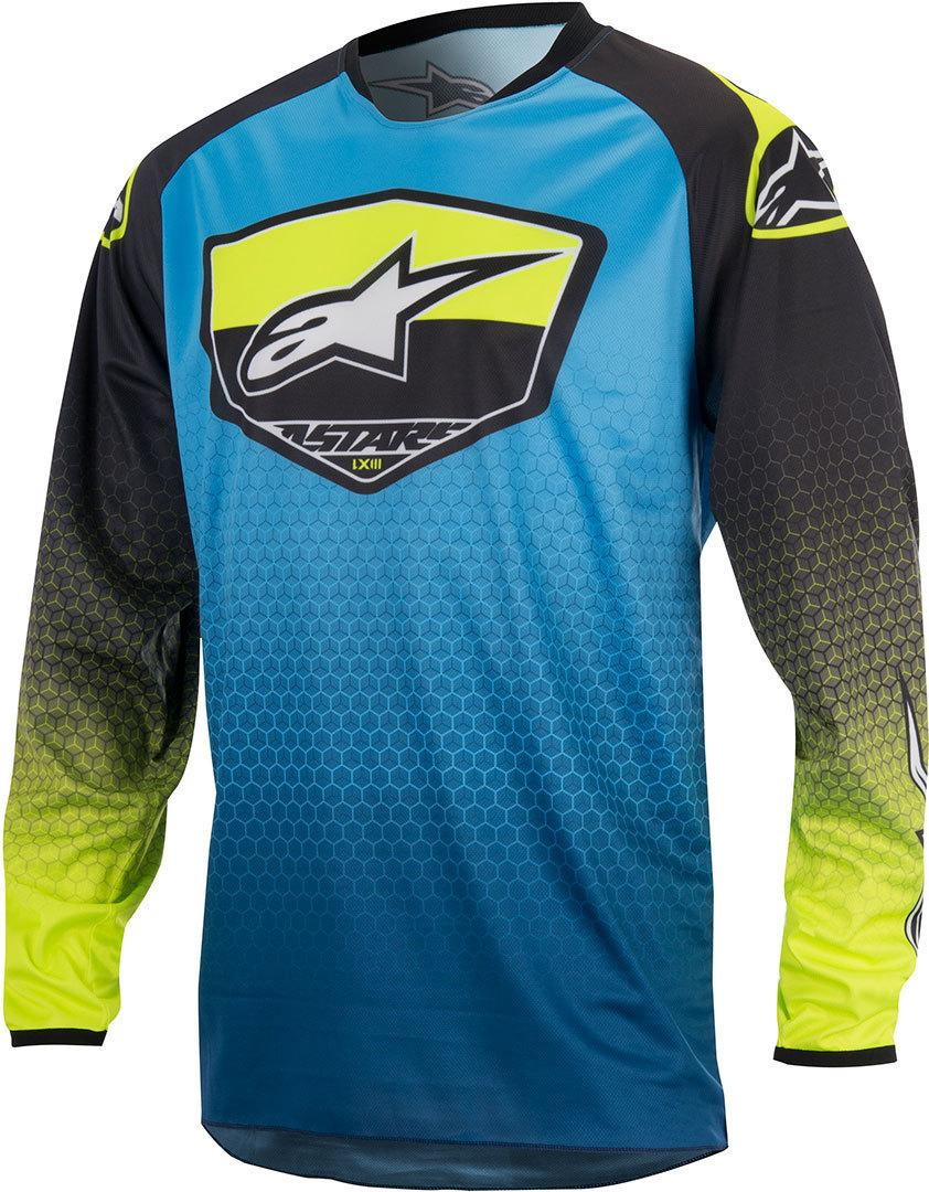 MAGLIA MOTO CROSS ALPINESTARS RACER SUPERMATIC JERSEY DARK BLUE CYAN YELLOW FLUO