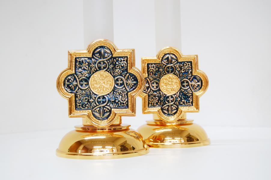 """Candeliere in ottone dorato decorazione """"barocca"""""""