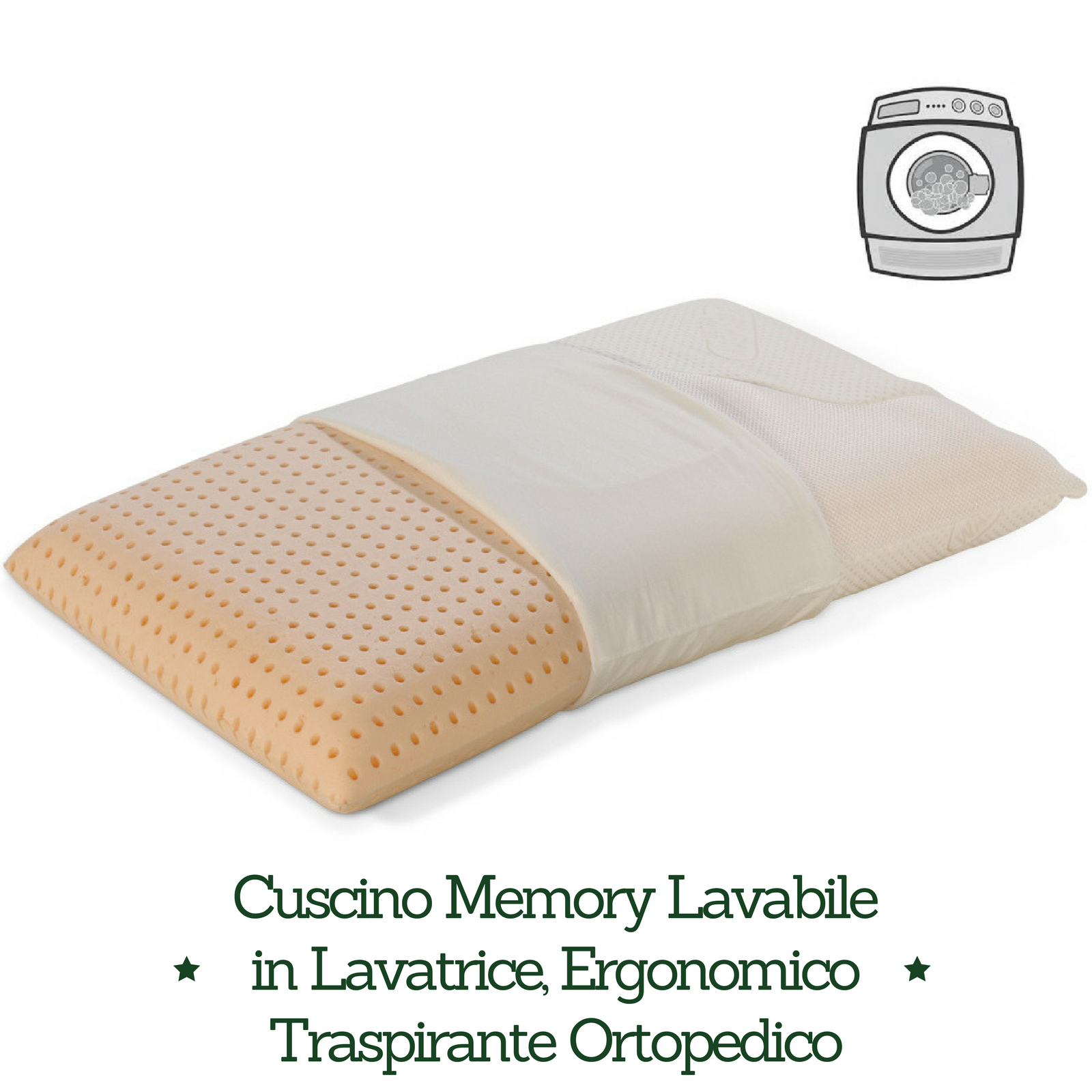 Cuscino Memory washable lavabile in lavatrice