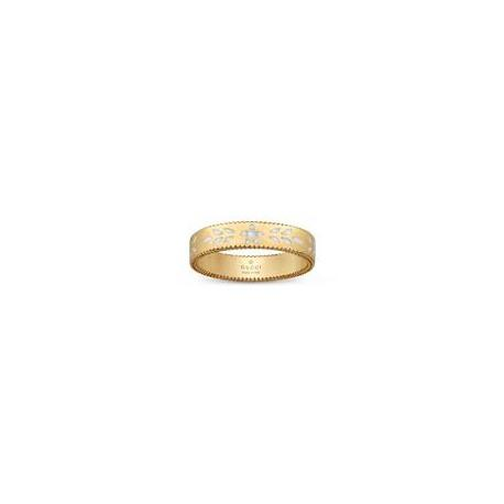 GUCCI ICON YELLOW GOLD AND WHITE ENAMEL RING - 4mm