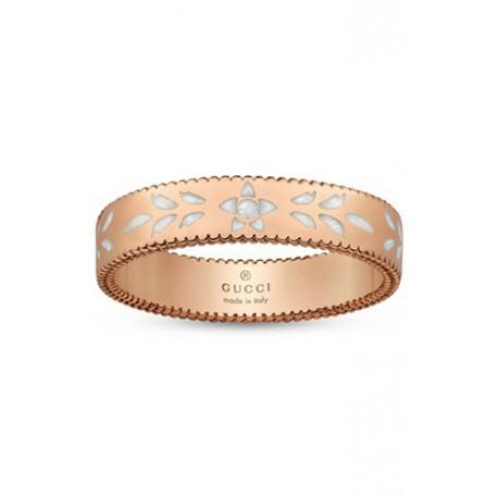 GUCCI ICON ROSE GOLD AND WHITE ENAMEL RING - 4 mm