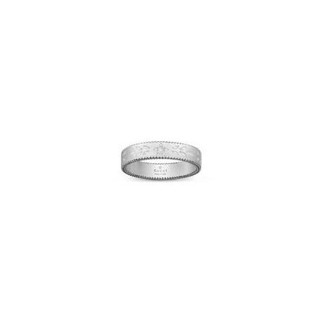 GUCCI ICON WHITE GOLD AND WHITE ENAMEL RING - 4mm