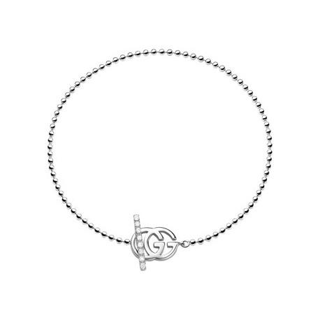 GUCCI RUNNING G WHITE GOLD BRACELET WITH DIAMONDS
