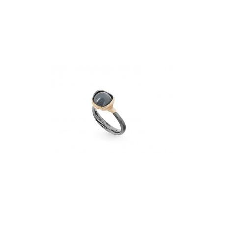 OLE LYNGGAARD COPENHAGEN - LOTUS RING IN GOLD AND SILVER WITH GREY MOONSTONE