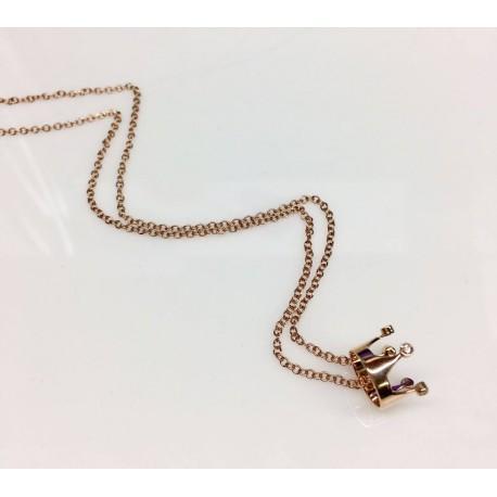 PRINCESS NECKLACE ROSE GOLD AND DIAMONDS