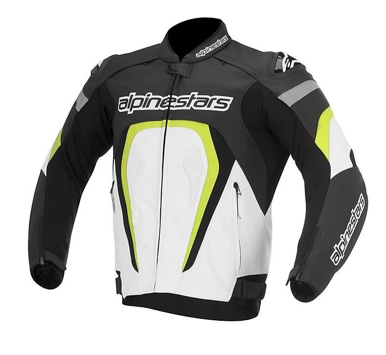 GIACCA MOTO ALPINESTARS MOTEGI IN PELLE BLACK WHITE YELLOW FLUO