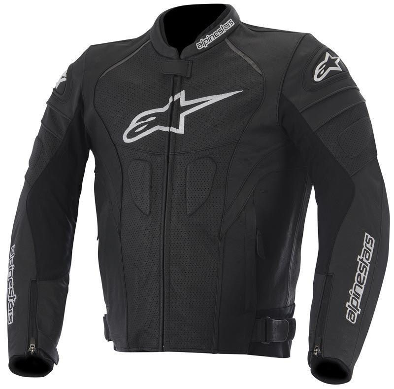 GIACCA MOTO ALPINESTARS GP PLUS R IN PELLE BLACK WHITE YELLOW FLUO